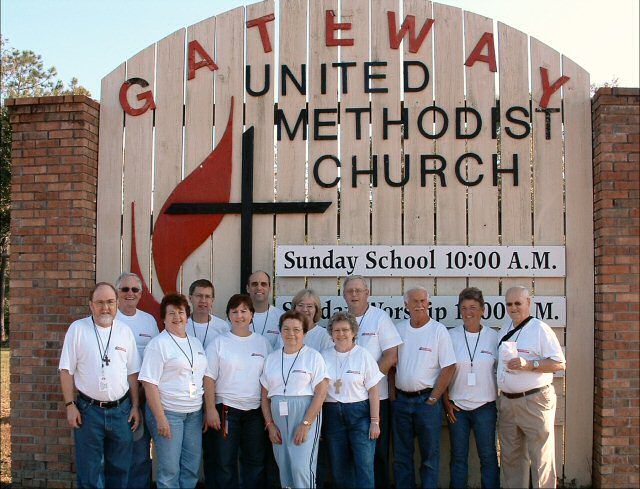 Here is the mission team in front of the Gateway UMC sign.